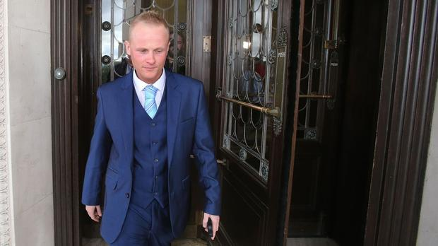 Jamie Bryson leaving Parliament Buildings in Belfast where he gave evidence to Stormont's Finance Committee on the controversial sale of Nama's NI assets to a US investor