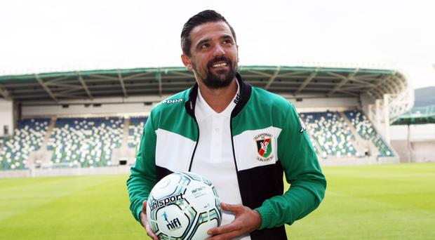 Nacho Novo after he signed for the Glens