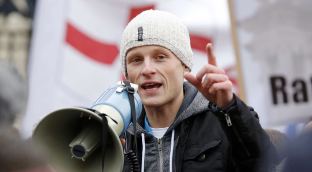 Jamie Bryson at a flag protest outside Belfast City Hall