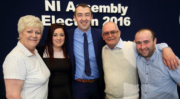 Daithi McKay with his election team (from left) Monica Digney, Leanne Peacock, Paul Maguire and Thomas O'Hara