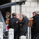 The funeral of Gerard Lively takes place at St John's Church in Hilltown, Co Down, yesterday