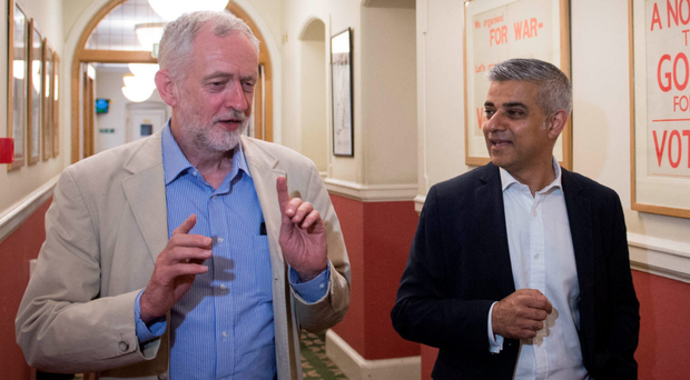 Jeremy Corbyn with Sadiq Khan after he was elected London mayor