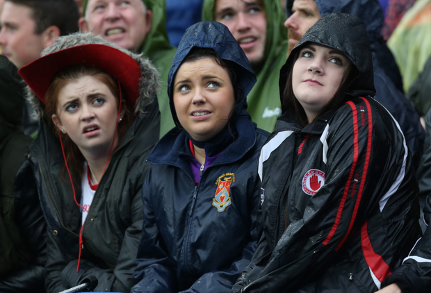 Tyrone GAA fans looking glum during a match at Croke Park
