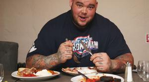 Sean O'Hagan tucks into a breakfast of champions ahead of the Ultimate Strongman Giant Weekend