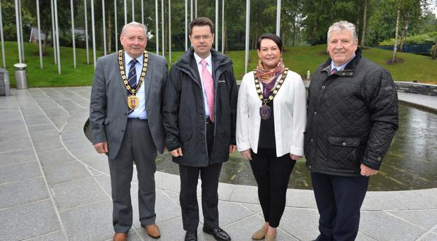 From left, Bert Wilson vice chair Fermanagh and Omagh District Council, Secretary of State James Brokenshire, Mary Garrity, chair of Fermanagh & Omagh District Council and Stanley McComb who lost his wife Ann in the Omagh bombing