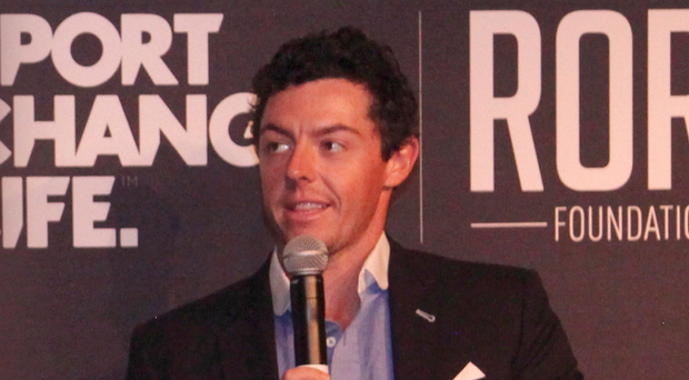 Rory McIlroy talks to students at the event