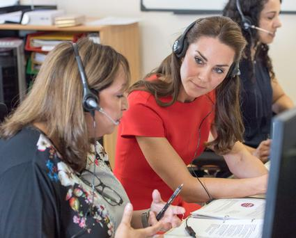 The Duke and Duchess of Cambridge during a visit to YoungMinds in London