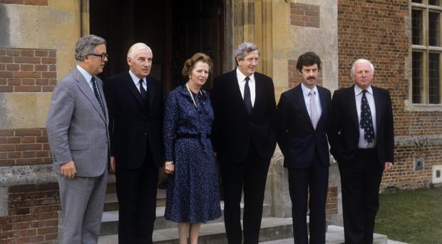 Peter Barry (to the left of Margaret Thatcher) at Anglo-Irish talks at Chequers