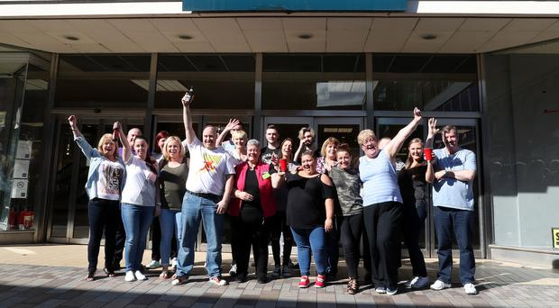 BHS staff in Belfast raise a glass to the store which has closed