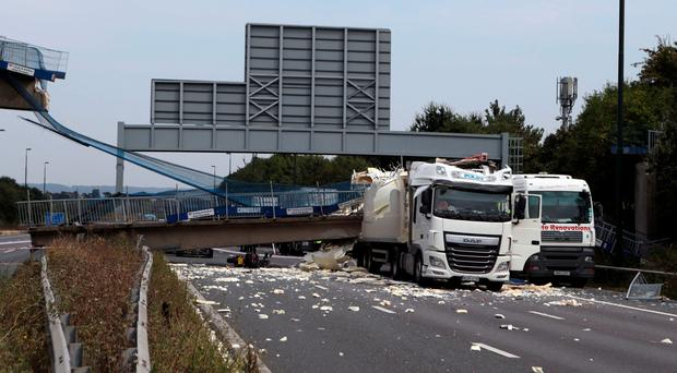 The scene on the M20 after the lorry hit the bridge