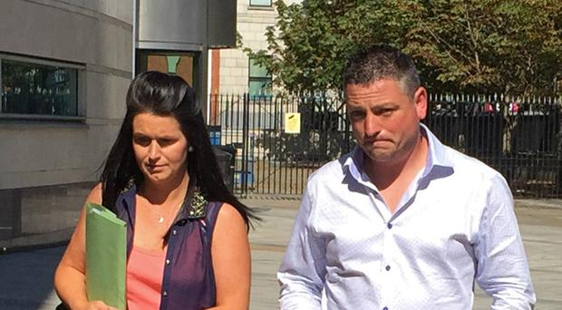Michelle and Barry Rocks at Belfast Coroner's Court where an inquest for their still born daughter Cara is being held.