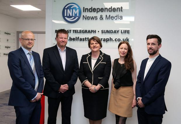 Mrs Foster with (from left) Belfast Telegraph Managing Editor Darwin Templeton, Sunday World Northern Editor Richard Sullivan, Belfast Telegraph Editor Gail Walker and Sunday Life Editor Martin Breen