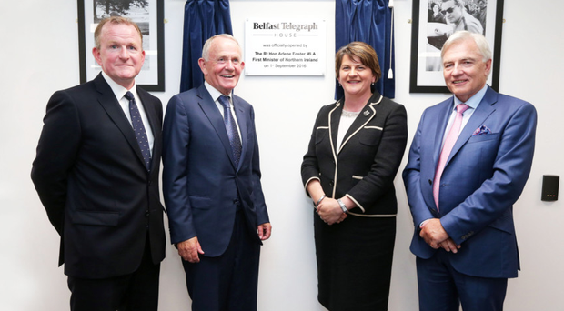 First Minister Arlene Foster with (from left) Richard McClean, Managing Director of INM Ltd, Leslie Buckley, Chairman of Independent News & Media PLC, and Len O'Hagan, Board Member of Independent News & Media PLC