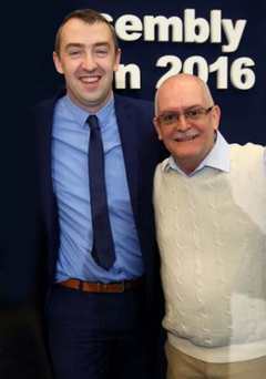 Daithi McKay (left) with Paul Maguire after he was re-elected an MLA in May
