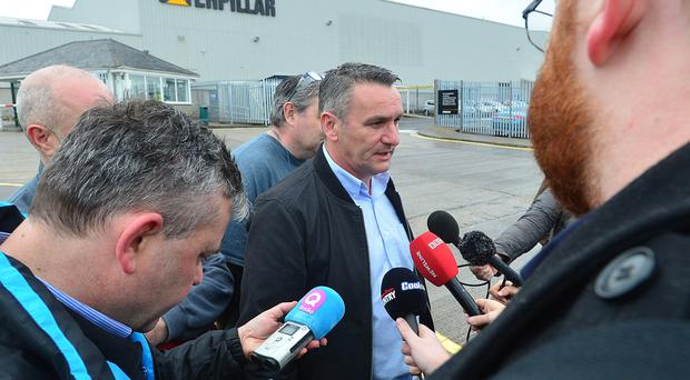 Davy Thompson from Unite speaks to the Press outside Caterpillar