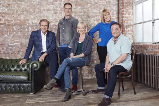 The reunited cast of Cold Feet. From left, Robert Bathurst, James Nesbitt, Hermione Norris, Fay Ripley and John Thomson
