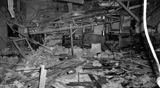 Wreckage at the Mulberry Bush pub after the 1974 attack