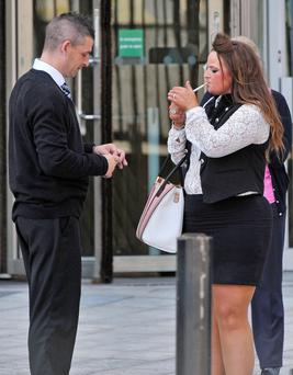 Gary and Lisa Thompson outside Laganside Court in Belfast yesterday