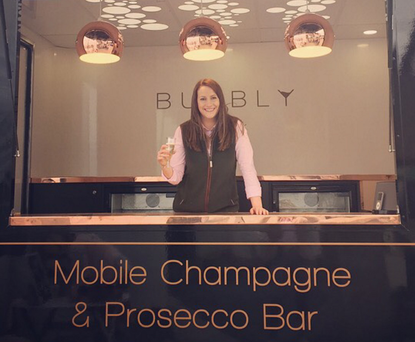 Alex Megarry raises a glass to her mobile bubbly bar