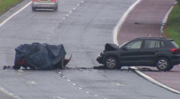 The scene of the tragic A1 car crash in which three students died