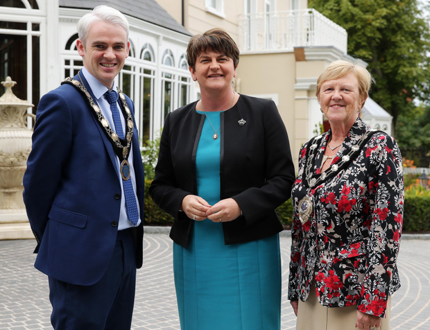 Ballymena Chamber of Commerce president Ronan McCann and Mid and East Antrim Borough Council Mayor Audrey Wales with First Minister Arlene Foster during a visit yesterday