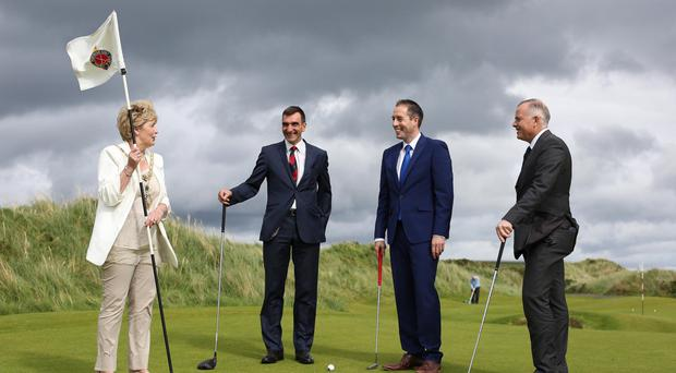 Communities Minister Paul Givan (second from right) is pictured with (from left) the Mayor of Causeway Coast and Glens Alderman Maura Hickey and 2019 Open Championship Committee members Philip Tweedie and John Bamber