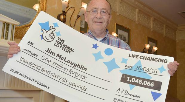 Jim McLoughlin (68) from Newry celebrates after picking up a cool £1,046,066 from a EuroMillions UK Millionaire Maker draw