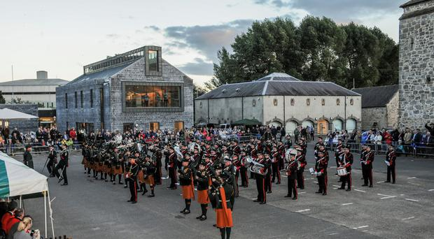 The Irish Defence Force's Army No 1 Band playing with the Band of the Royal Irish Regiment in Enniskillen