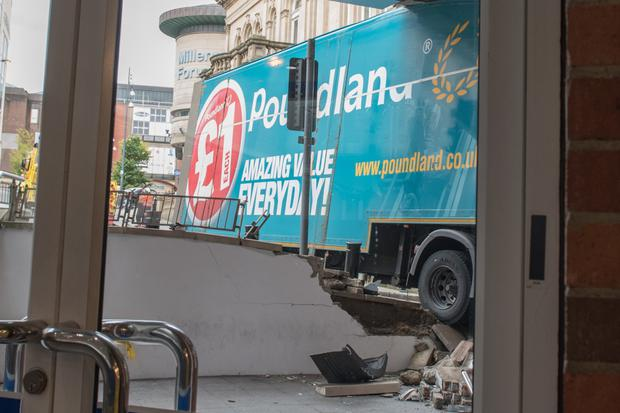Damage to Foyleside Shopping Centre after a delivery lorry crashed into the building