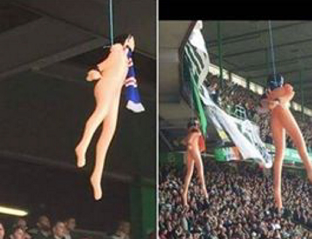 The dolls hung by Celtic fans from the stands prompted criticism on social media by supporters of both clubs