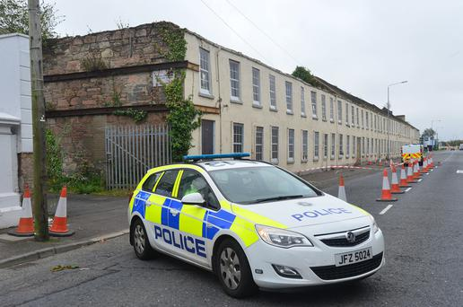 A police car outside the derelict building in Newtownards