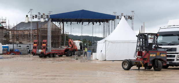 The MTV stage being assembled