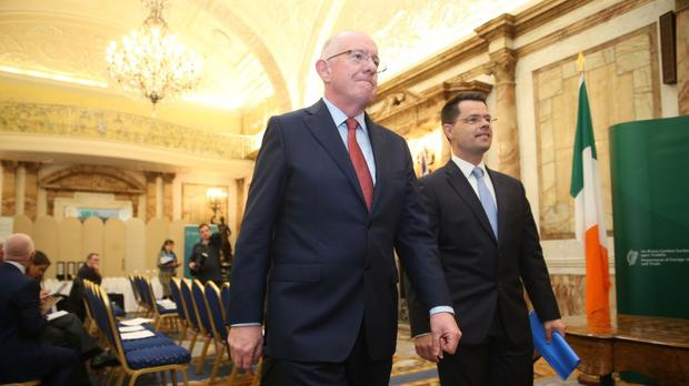 Ireland's Foreign Affairs Minister Charlie Flanagan meeting Northern Ireland Secretary James Brokenshire (right) at Iveagh Hose in Dublin