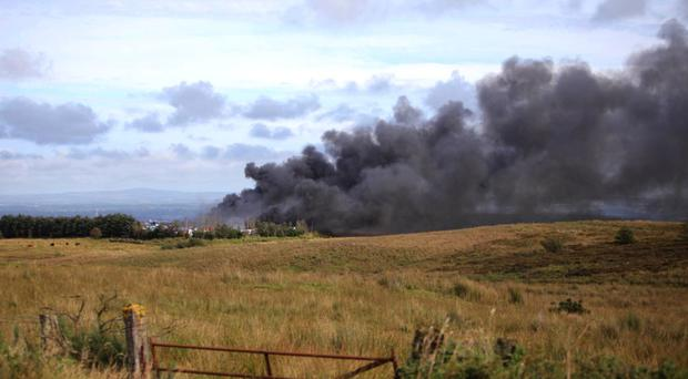 Scene of a massive fire at a car breakers' near Garvagh