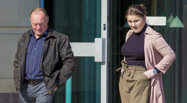 Raymond Potts and his daughter, Victoria, leave yesterday's inquest into the death of Wilma Potts