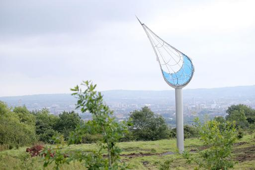 The new Origin sculpture at Squire's Hill in the Cave Hill Country Park, overlooking Belfast