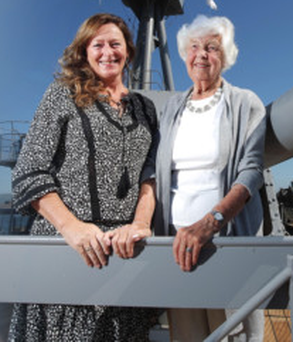 Ex-Wren Maureen Lightbody with Helen Halliday, granddaughter of James Weddick, who was chief gunner on HMS Caroline during the Battle of Jutland