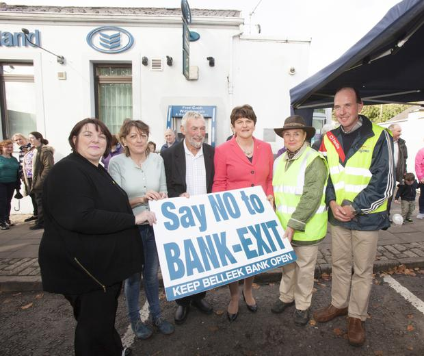 Arlene Foster joins the protesters in Belleek objecting to the closure of the bank branch