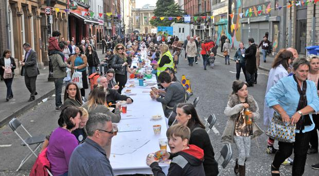 Thousands of people gathered in the Cathedral Quarter of Belfast