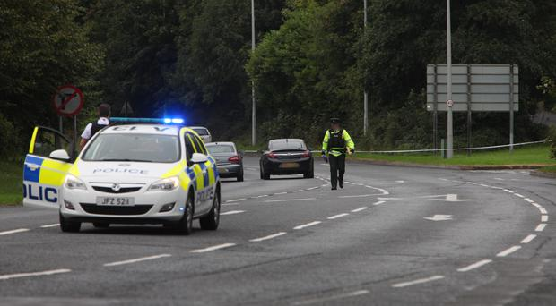 The Great Northern Road in Omagh has been closed following a fatal road traffic collision early this morning. A male pedestrian, aged in his 20's, died in the collision involving a lorry. Pic from PACEMAKER BELFAST