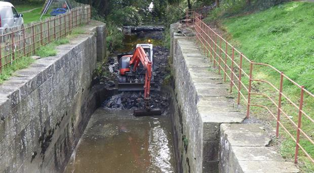 Restoration work under way at Moneypenny's Lock on the Newry Canal