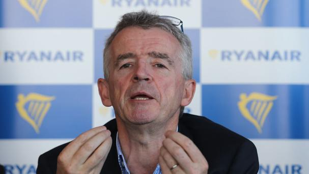 Ryanair CEO Michael O'Leary holds a press conference at Titanic Belfast