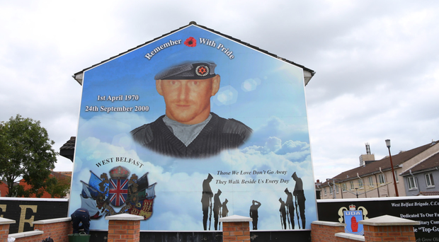 The new mural, honouring UDA gunman Stephen McKeag, in the lower Shankill area