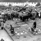 The funeral service for five victims of the Kingsmills massacre at the Presbyterian church grounds in Bessbrook