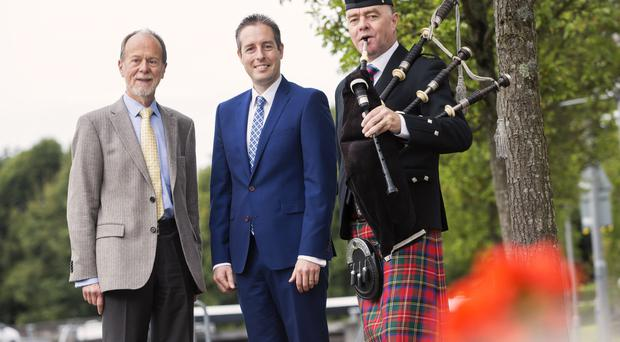 Minister for Communities Paul Givan (centre) and Bob Collins (left), chair of Arts Council of Northern Ireland launch the Challenge Fund with Ian Burrows, Scottish piper with the Northern Ireland Piping and Drumming School based in Lisburn