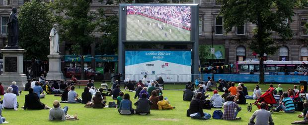 Only a few football fans turned up to watch a game on the big screen at City Hall