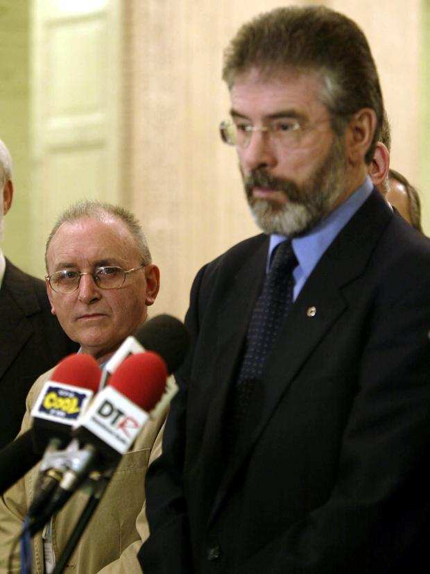 Gerry Adams with Denis Donaldson in 2005