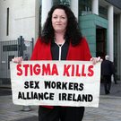 Sex workers' rights campaigner and speaker Laura Lee at Belfast High Court yesterday