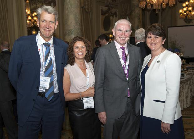Liam McCollum QC, Dorcas Crawford (Edwards & Co Solicitors), John Gordon (Napier & Sons Solicitors) and First Minister Arlene Foster during her visit to Washington DC