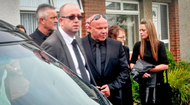 Former terror boss Johnny Adair at the funeral of his son Jonathan
